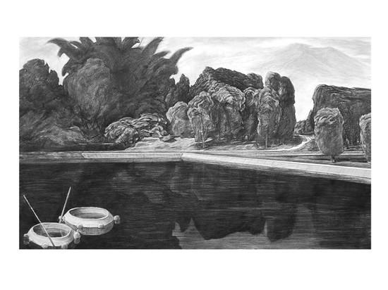 古村新塘(素描)160-97cm2005