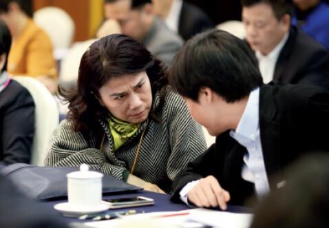 P30-3月5日下午,广东代表团举行全体会议,董明珠、雷军相邻而坐。CFP