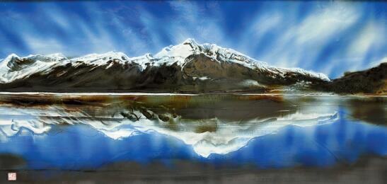 p32 李泉作品之一《梦回然乌湖》