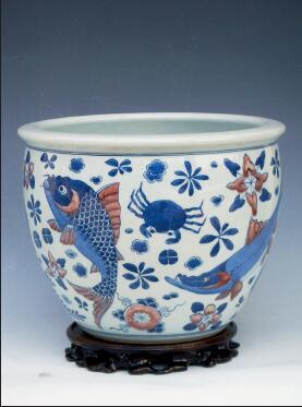 p79-4 康熙青花釉里红鱼藻缸