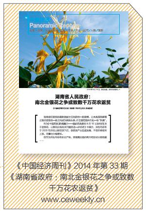 p45 《中国经济周刊》2014 年第33 期《湖南省政府:南北金银花之争或致数千万花农返贫》