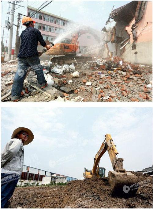 """61 上海市浦东新区合庆镇,正在被拆除的""""198 企业""""厂房,拆除完毕后,该地块将进行复垦。《中国经济周刊》摄影记者 胡巍 摄"""
