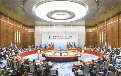 9月4日,金砖国家领导人第九次会晤在厦门国际会议中心举行。国家主席习近平主持会晤并发表题为《深化金砖伙伴关系 开辟更加光明未来》的重要讲话。南非总统祖马、巴西总统特梅尔、俄罗斯总统普京、印度总理莫迪出席。新华社记者 谢环驰摄