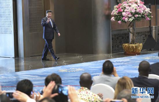 9月5日,国家主席习近平在厦门国际会议中心会见中外记者,介绍金砖国家领导人第九次会晤和新兴市场国家与发展中国家对话会情况。 新华社记者庞兴雷 摄