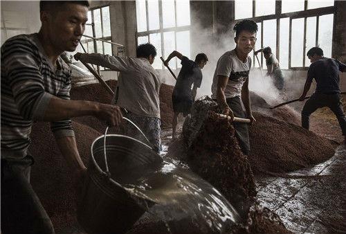 16 贵州省遵义仁怀市茅台镇,酿酒厂里工人们将烧开的河水准备好,用于高粱的第一次发酵。视觉中国