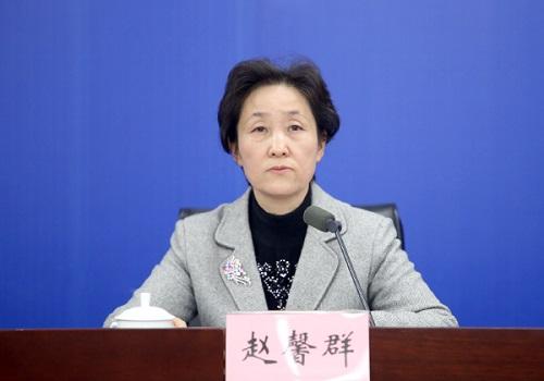 安徽省物价局局长赵馨群发布新闻。吴晓光 ▏摄