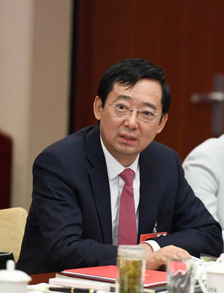 全国人大代表、中铁四局集团有限公司总经理王传霖在讨论政府工作报告时发言。_副本