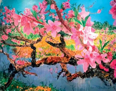 p85-12018 年艺术北京博览会上展出的布面油画 《彼岸桃花》