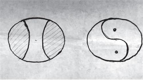 p31-3张国宝手绘的国家大剧院俯视图(左为安德鲁设计,右为张国宝设计)