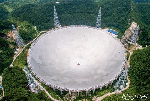"""p110-2 ▲ 500 米口径球面射电望远镜被誉为""""中国天眼"""",由我国天文学家南仁东于1994年提出构想,历时22 年建成,于2016年9 月25 日落成启用。视觉中国"""
