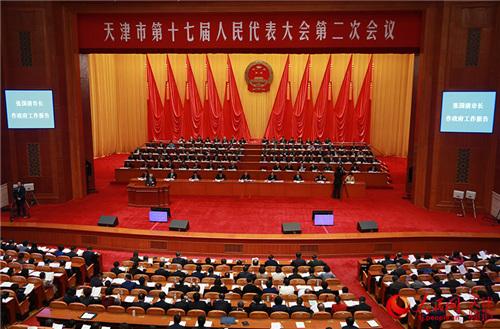 1月14日,天津市十七届人大二次会议开幕,天津市长张国清作政府工作报告。孙晓川摄影