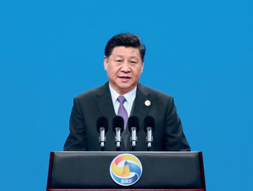 """16  4 月26 日,国家主席习近平在北京出席第二届""""一带一路""""国际合作高峰论坛开幕式,并发表题为《齐心开创共建""""一带一路""""美好未来》的主旨演讲。新华社"""