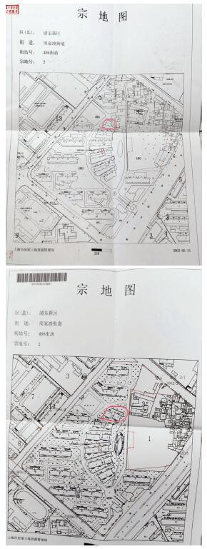 p36-業委會代表洪峰提供的同一區域的宗地圖顯示,在別墅北區位置,2003 年與2008年的情況完全不同:2003 年該區域內是一幢別墅,到了2008 年就變成了兩幢。供圖 受訪者