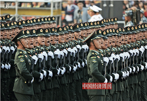 p54-55 陆军方队接受检阅。