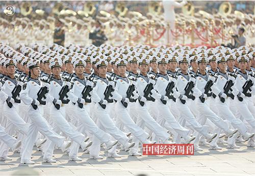 p54-55海军方队接受检阅。