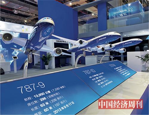 p26 波音公司在进博会上展出其最新的双通道飞机家族成员——777X 飞机模型。据悉,777X将成为世界上最大和最高效的双发飞机,首架交付和投入运营计划于2020 年进行。