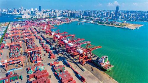 p84-1海口港的航拍畫面 中新社