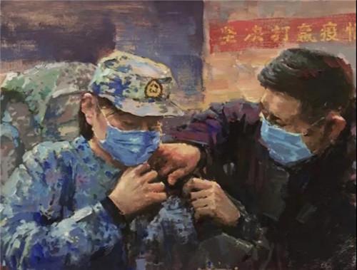 水彩 《嚴防死守抗疫情》  劉正平 (2)