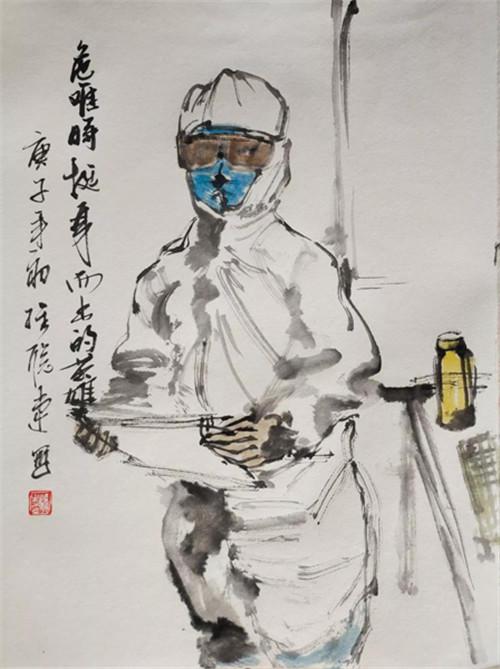 中國畫速寫《危難時挺身而出的英雄》 邵維聰