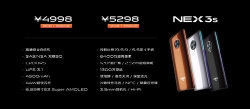 vivo NEX 3S各版本售价