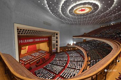 十三届全国人大三次会议开幕会。人民网记者翁奇羽摄