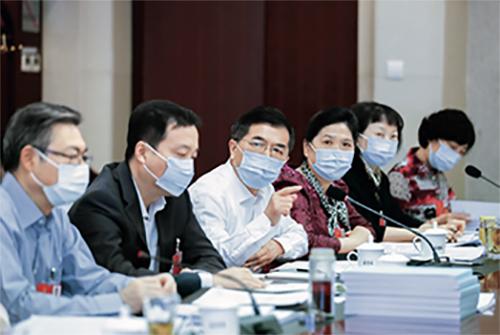 p41-4 安徽代表團代表在審議《中華人民共和國民法典(草案)》《全國人民代表大會關于建立健全香港特別行政區維護國家安全的法律制度和執行機制的決定(草案)》。