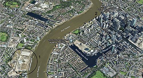 圈1所示为Convoys Wharf项目所在地,圈2所示为金丝雀码头