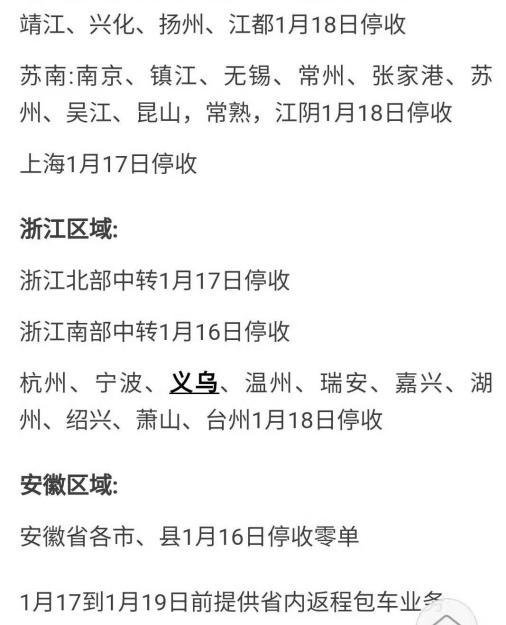 李忠提供的一份浙江物流企业停止收件时间表。