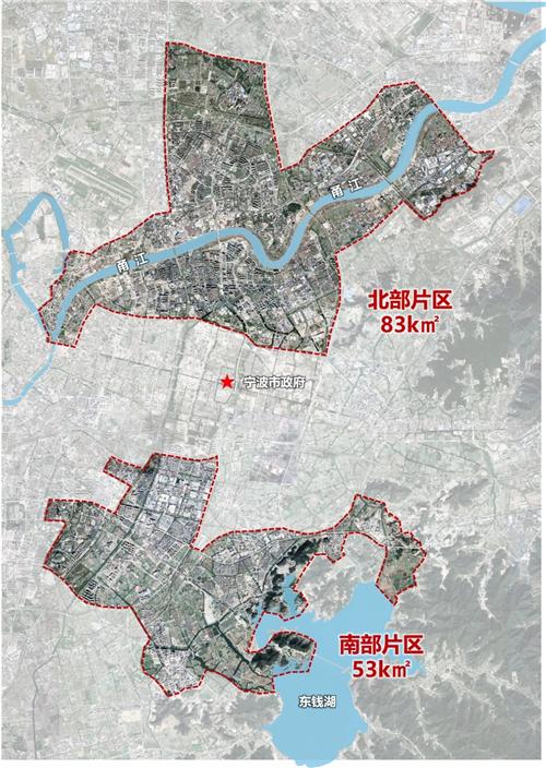 """甬江科创大走廊核心区""""两片""""空间范围图"""