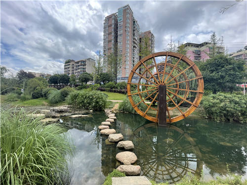 青山水廠上面的生態公園與附近的居民區